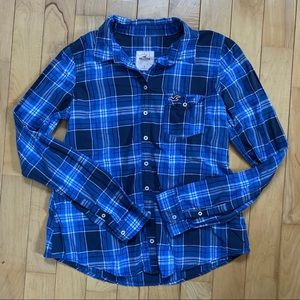 Hollister Size L Blue Plaid Button Down Shirt
